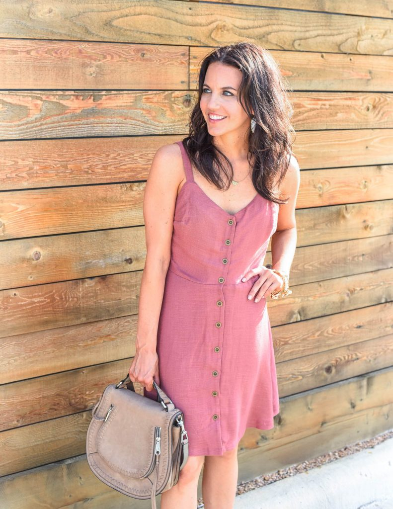 boho chic outfit | pink button front dress | summer fashion | Houston Fashion Blogger Karen Kocich