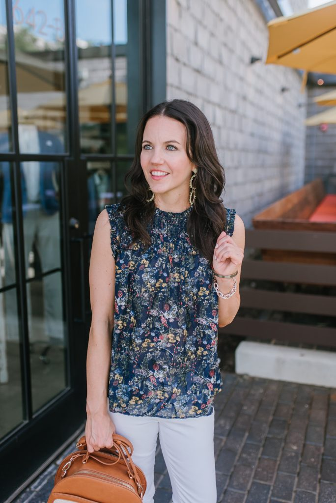 casual outfit | navy floral top | yellow statement earrings | Houston Fashion Blogger Lady in Violet
