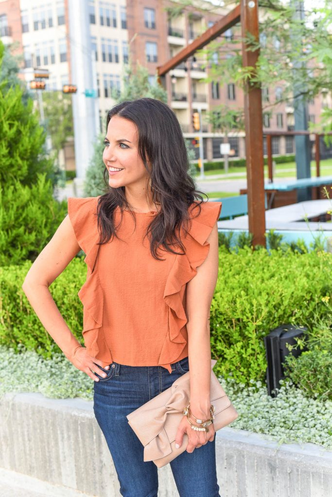 casual outfit | rust orange top | bow clutch purse | Houston Fashion Blogger Lady in Violet