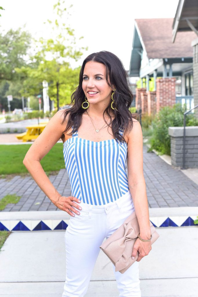 weekend outfit | striped bodysuit | yellow statement earrings | Houston Fashion Blogger Karen Kocich
