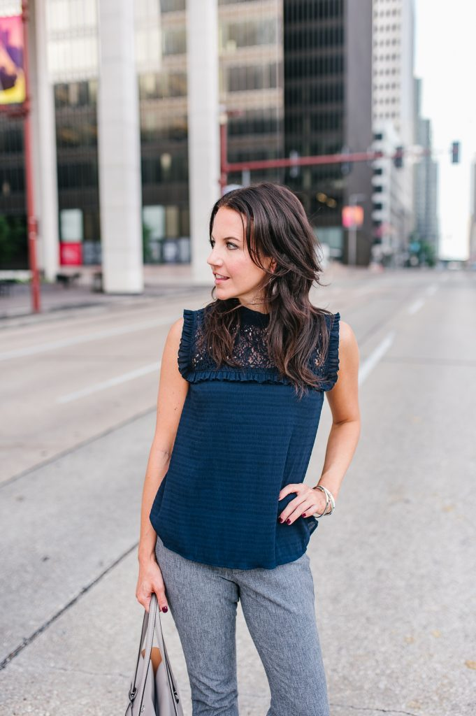 work outfit | navy lace blouse | gray ankle pants | Houston Fashion Blogger Lady in Violet
