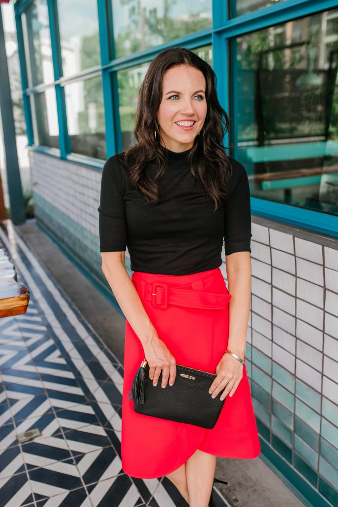 work outfit | red midi skirt | black turtleneck top | Houston Fashion Blogger Lady in Violet