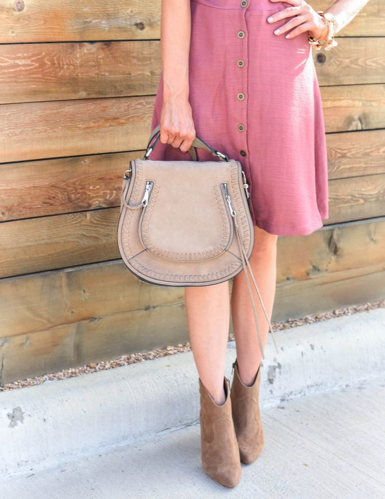 Casual outfit | brown suede booties | tan saddle bag | Houston Fashion Blogger Lady in Violet