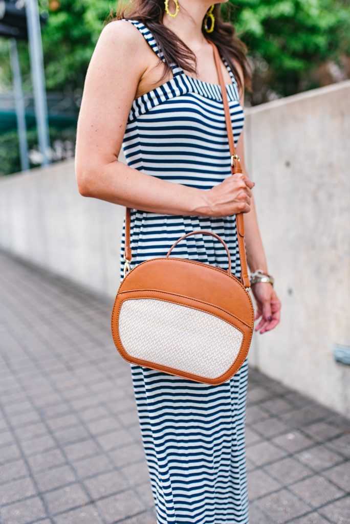 causal outfit | canteen crossbody bag | striped maxi dress | Houston Fashion Blogger Lady in Violet