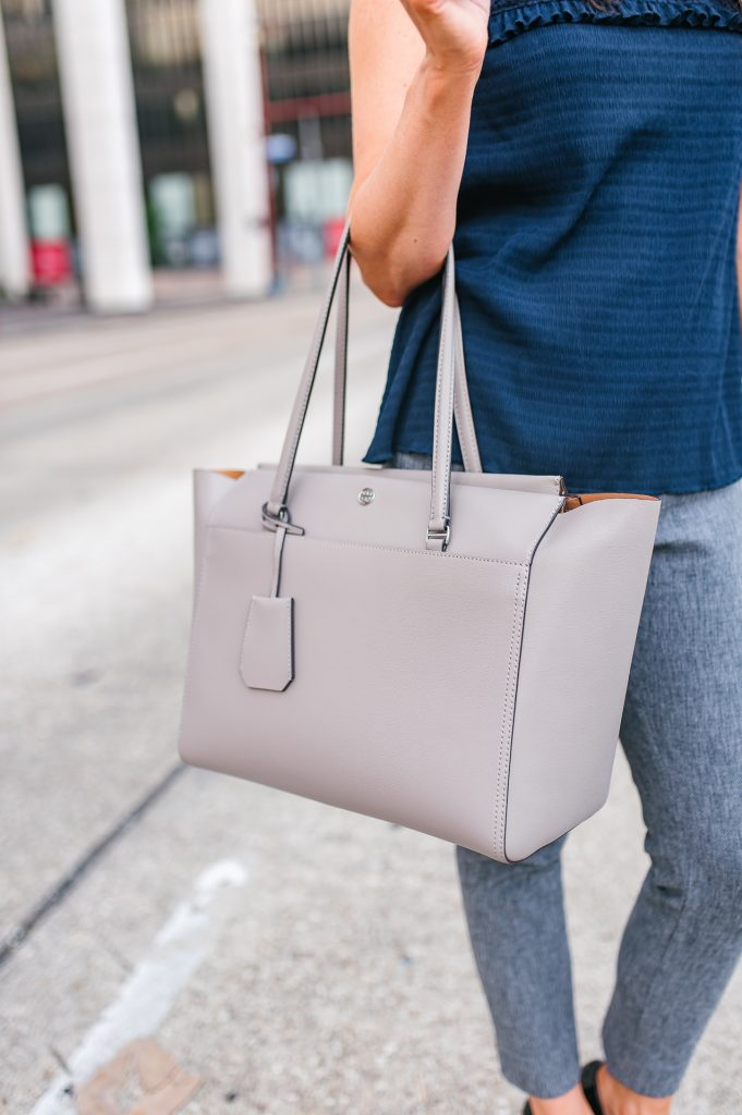 Fall work outfit | gray tory burch tote bag | Houston Fashion Blogger Lady in Violet