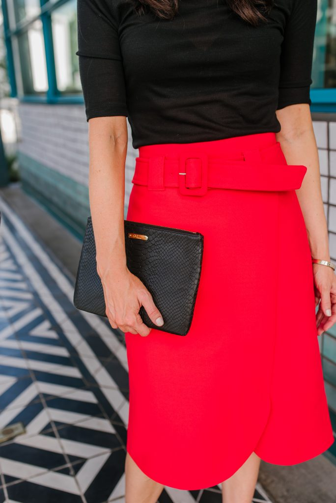 office outfit | red belted midi skirt | black clutch purse | Houston Fashion Blogger Karen Kocich