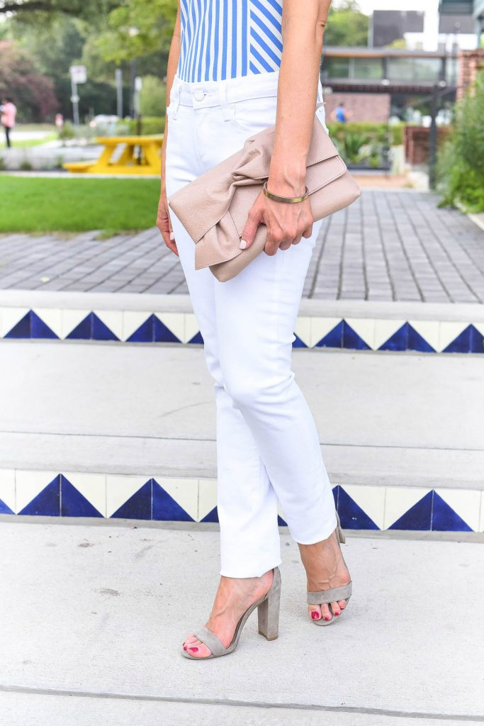 summer outfit | white skinny jeans | taupe block heel sandals | Houston Fashion Blogger Lady in Violet