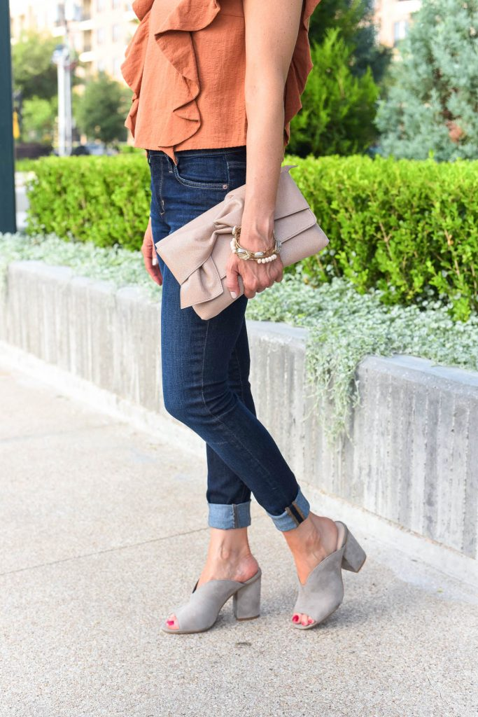 weekend outfit | cuffed skinny jeans | gray suede mules | Houston Fashion Blogger Lady in Violet
