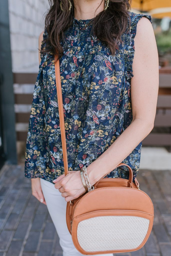 weekend outfit | sleeveless floral top | sole society canteen bag | Houston Fashion Blog Lady in Violet