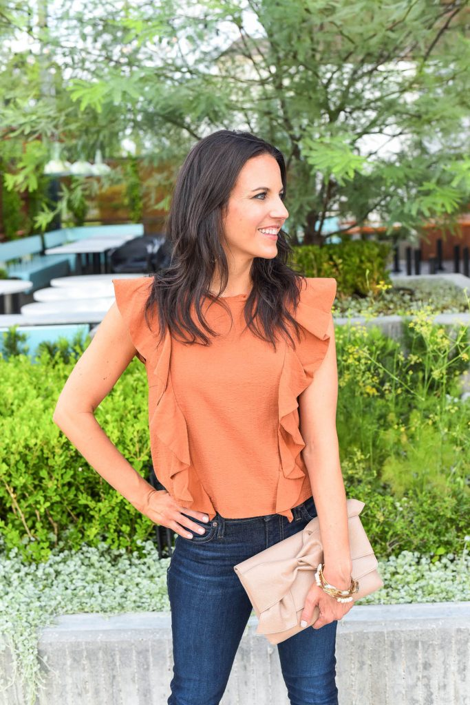 Casual summer outfit | orange ruffle top | bow clutch | Houston Fashion Blogger Lady in Violet