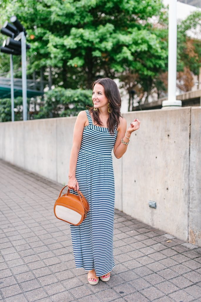casual summer outfit | striped maxi dress for petite | brown wedge sandals | Houston Fashion Blogger Lady in Violet