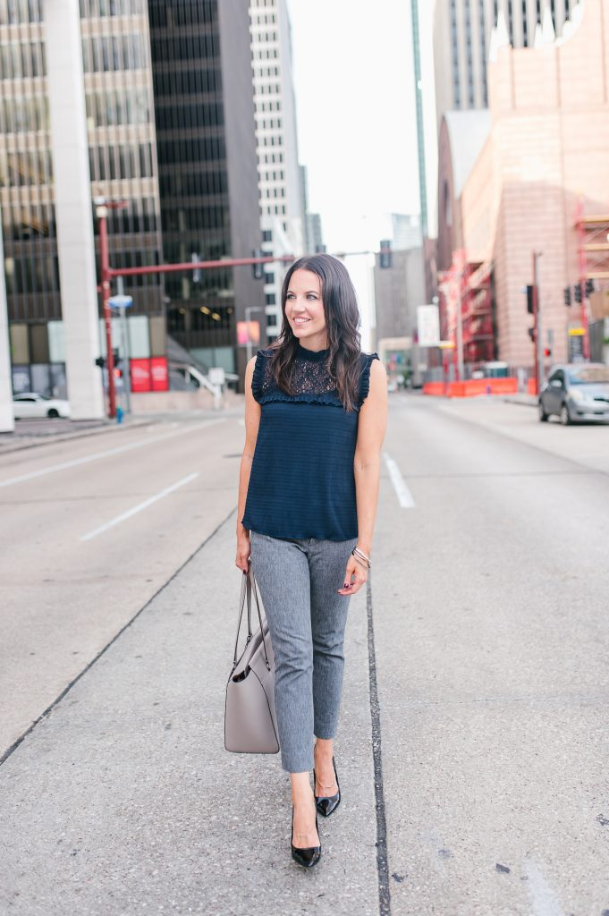 fall work outfit | navy sleeveless blouse | gray skinny pants | Houston Fashion Blogger Lady in Violet