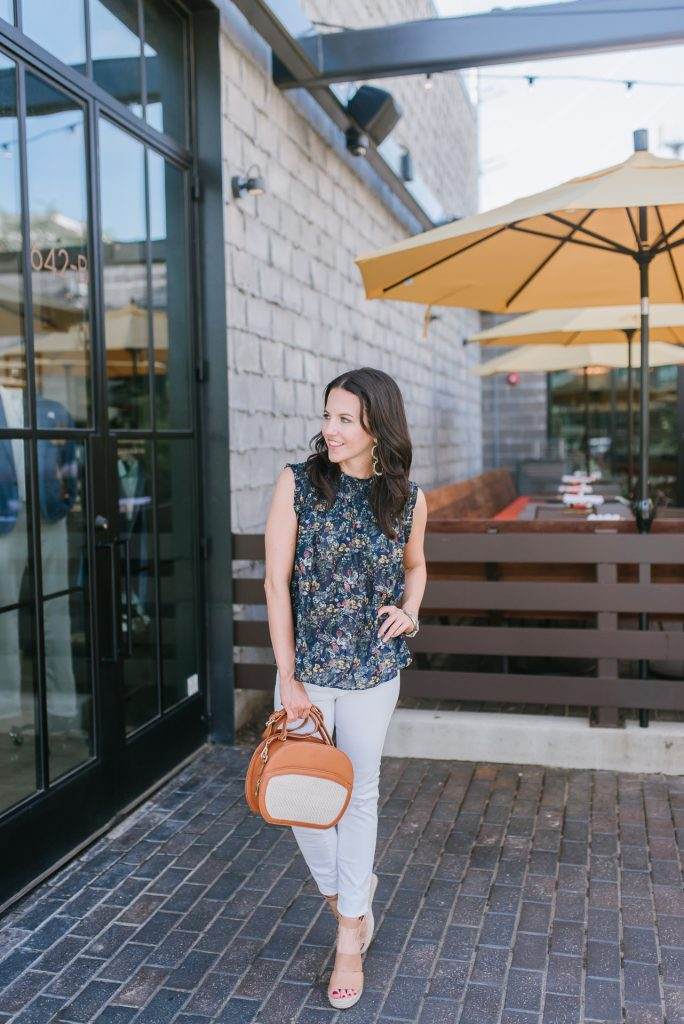 Summer casual outfit | sleeveless floral top | espadrille wedges | Houston Fashion Blogger Karen Kocich