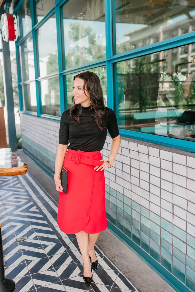 workwear | black turtleneck top | red midi skirt | Houston Fashion Bloggers Lady in Violet