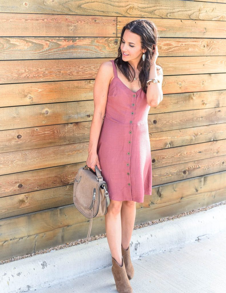 boho chic style | rose button front dress | brown booties | Houston Fashion Blogger Karen Kocich