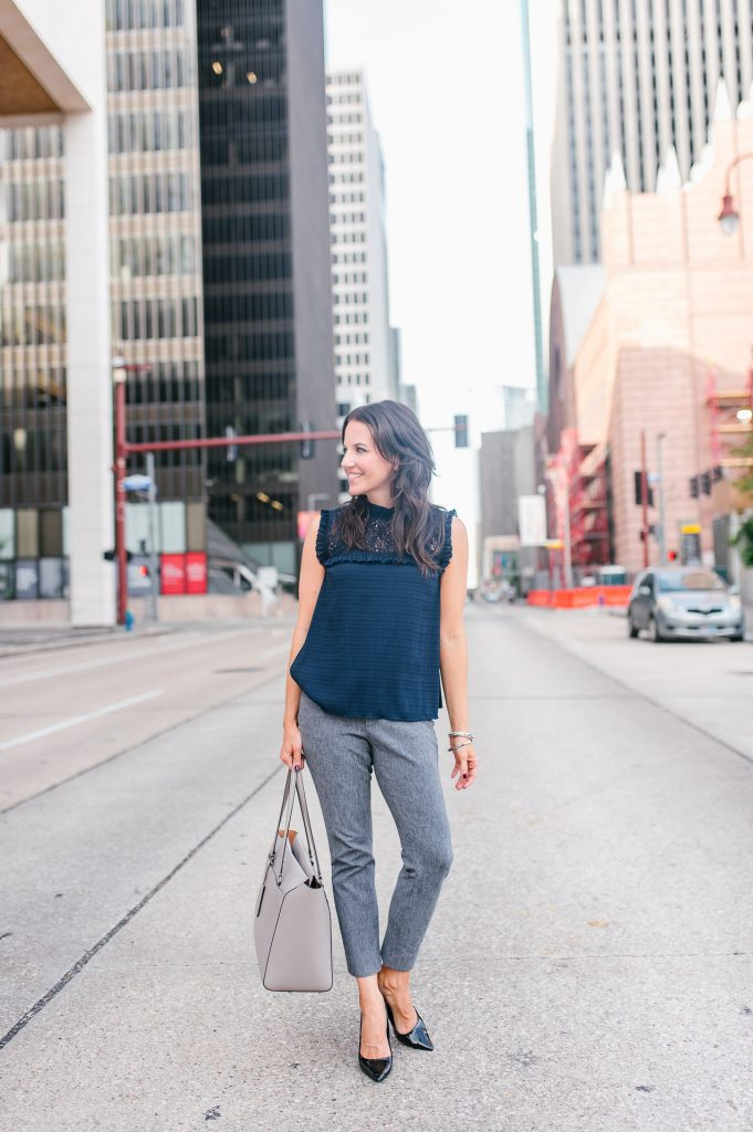 office outfit | navy lace blouse | gray ankle pants | Houston Fashion Blogger Lady in Violet