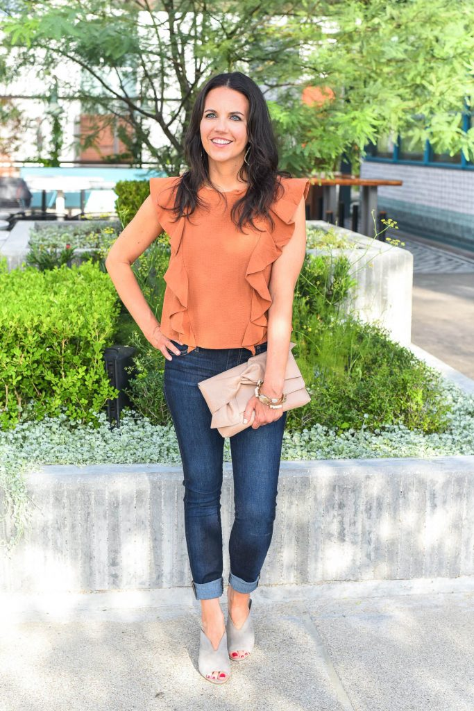 summer outfit | orange ruffle top | dark skinny jeans | Houston Fashion Blogger Lady in Violet