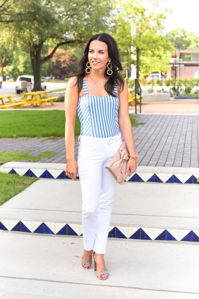 Summer outfit | striped bodysuit | white denim | Houston Fashion Blogger Karen Kocich