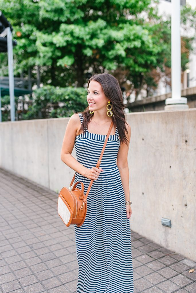 weekend outfit | striped maxi dress | crossbody bag | Houston Fashion Blogger Lady in Violet