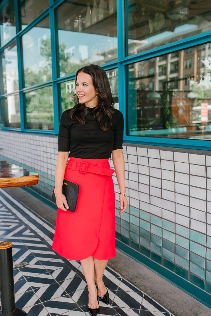 what to wear to the office | red midi skirt | black heels | Houston Fashion Blogger Lady in Violet