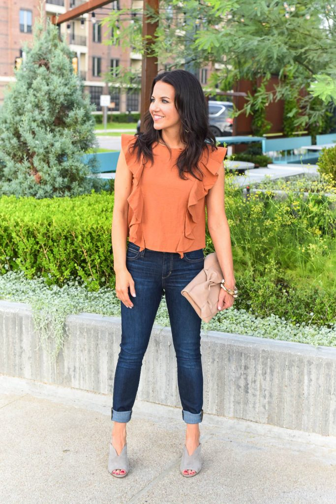 Casual weekend outfit | orange crop top | open toe mules | Houston Fashion Blogger Lady in Violet