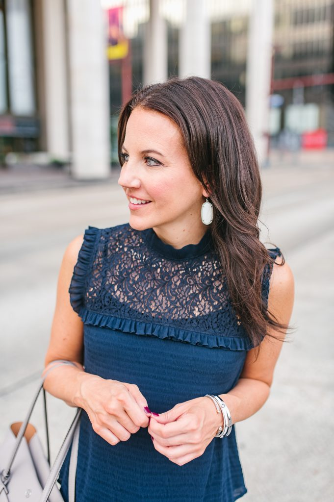 summer outfit | kendra scott earrings | navy lace blouse | Houston Fashion Blogger Lady in Violet