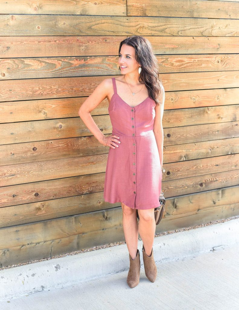 summer outfit | pink casual dress | suede booties | Houston Fashion Blogger Lady in Violet