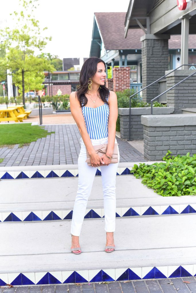 summer outfit | striped bodysuit | bow clutch | Houston Fashion Blogger Lady in Violet