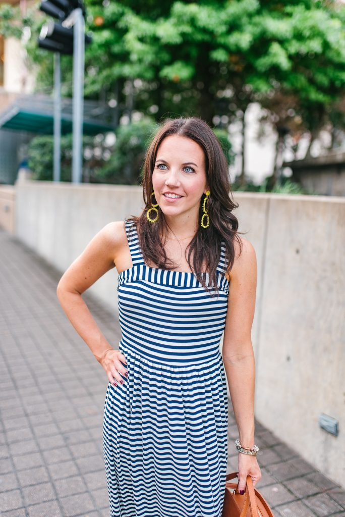 summer outfit | yellow statement earrings | petite maxi dress | Houston Fashion Blogger Lady in Violet