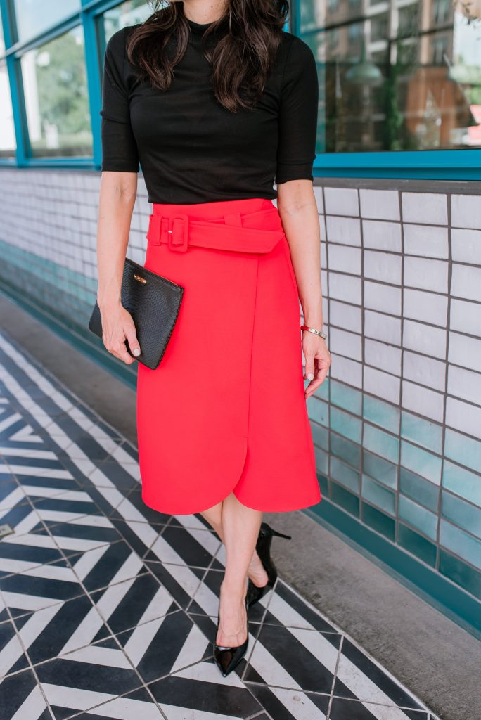workwear | red midi skirt | black patent heels | Houston Fashion Blogger Lady in Violet