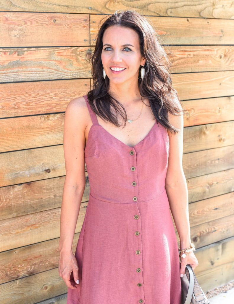 casual outfit | pink button dress | gorjana necklace | Houston Fashion Blogger Lady in Violet