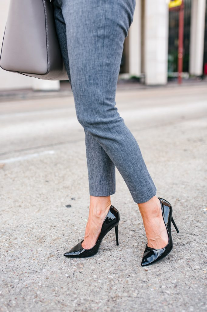 Fall work outfit | gray slacks | black patent heels | Houston Fashion Blogger Lady in Violet