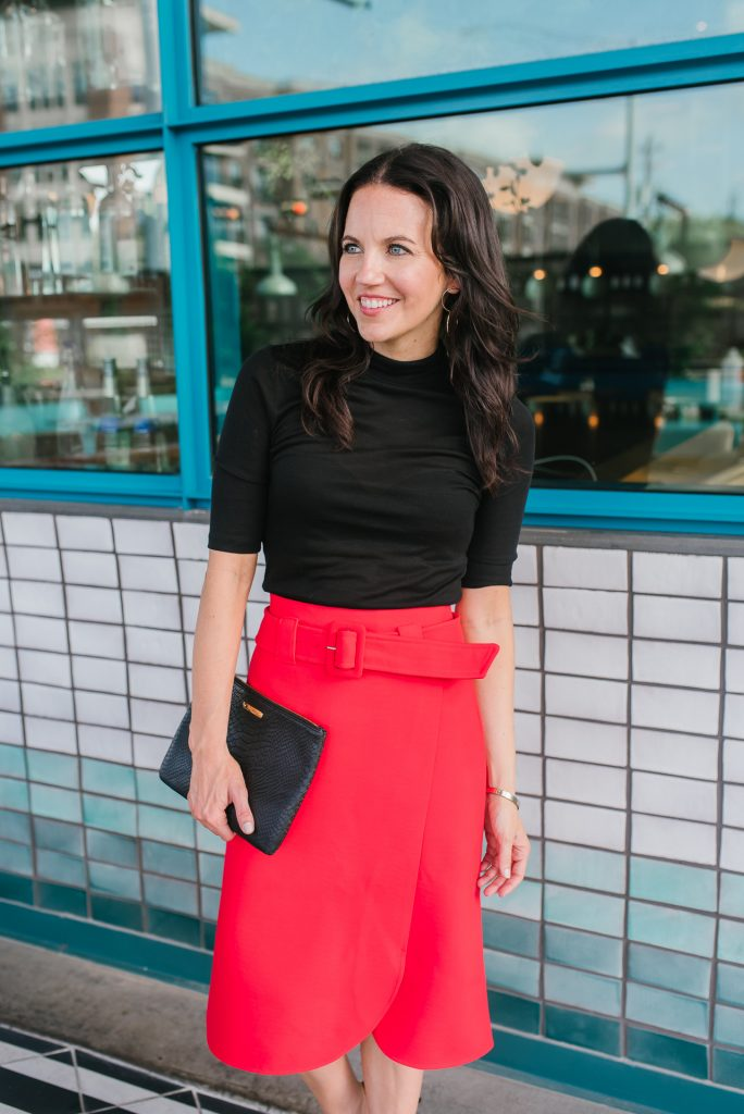 fall work outfit | long red skirt | black short sleeve top | Houston Fashion Blogger Lady in Violet