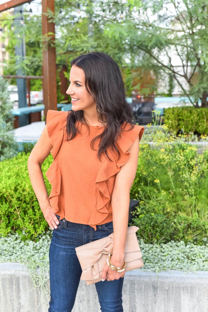 summer outfit | orange ruffle top | nude clutch purse | Houston Fashion Blogger Lady in Violet