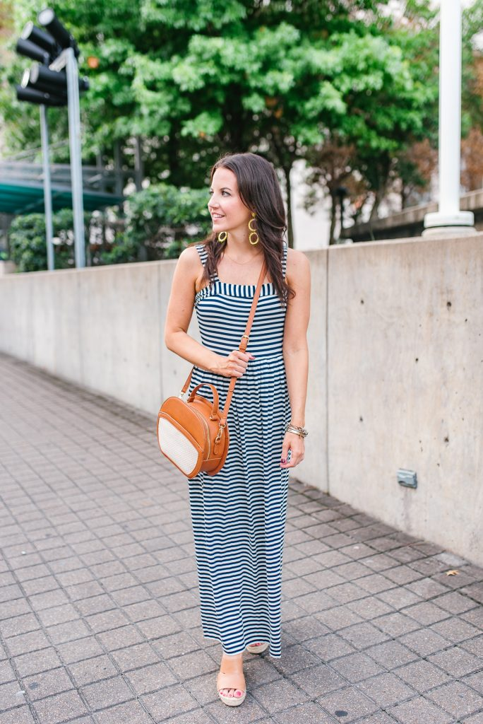 summer outfit | striped maxi dress | brown espadrilles | Houston Fashion Blogger Lady in Violet