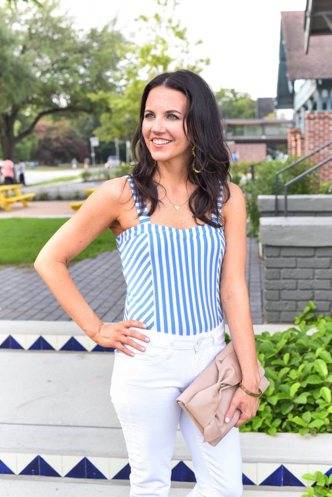 Weekend outfit | striped bodysuit | bow clutch purse | Houston Fashion Blogger Lady in Violet