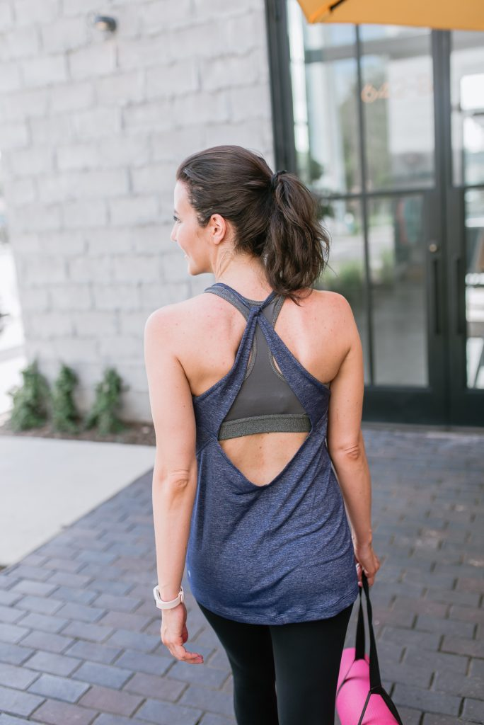 workout clothes | open back tank top | supportive sports bra | Houston Fashion Blogger Lady in Violet