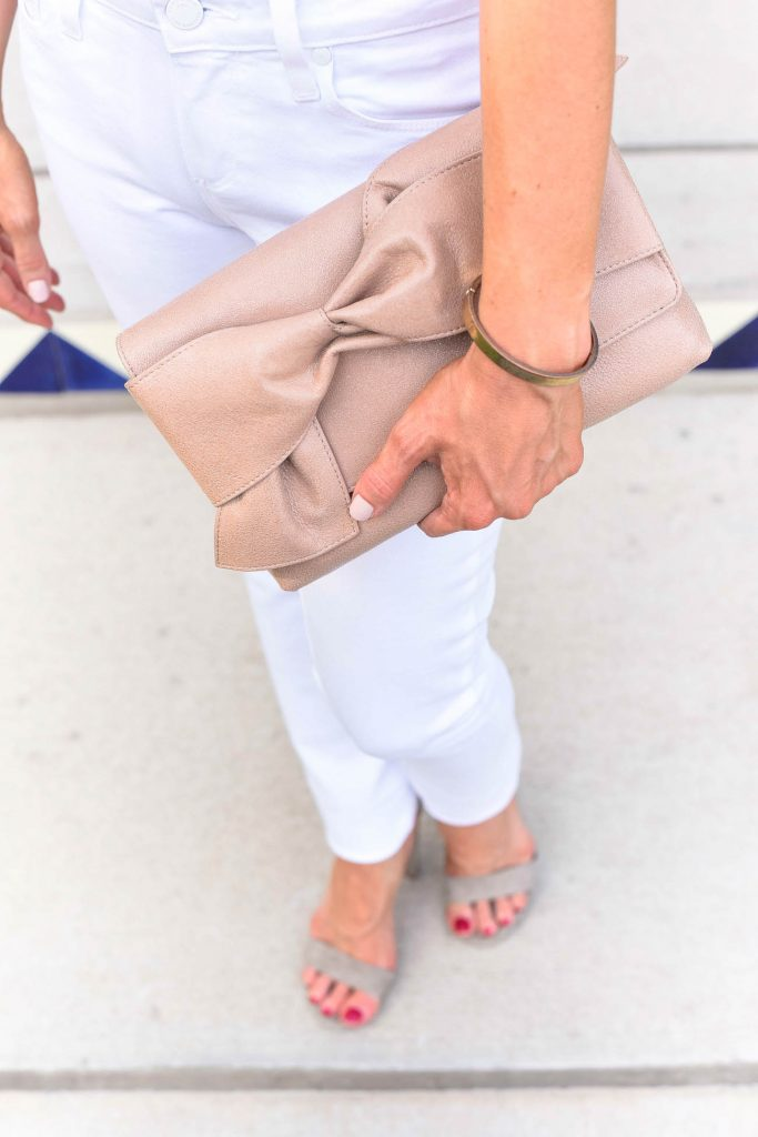 summer fashion | bow clutch purse | gold bangle | Houston Fashion Blogger Lady in Violet