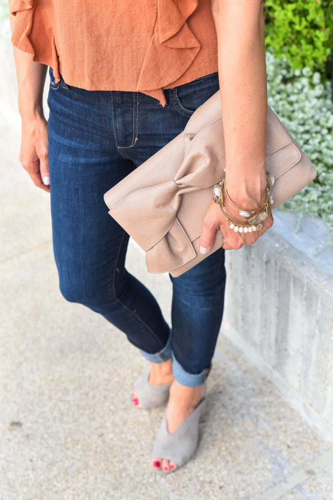 Summer outfit | bow clutch purse | stone bangles | Houston Fashion Blogger Lady in Violet