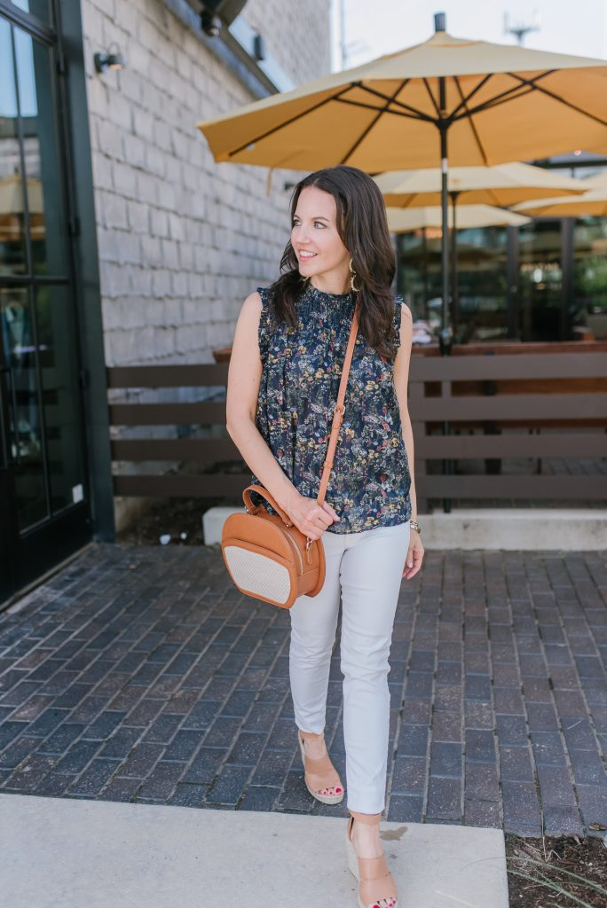 summer outfit | navy floral top | white jeans | Houston Fashion Blogger Lady in Violet