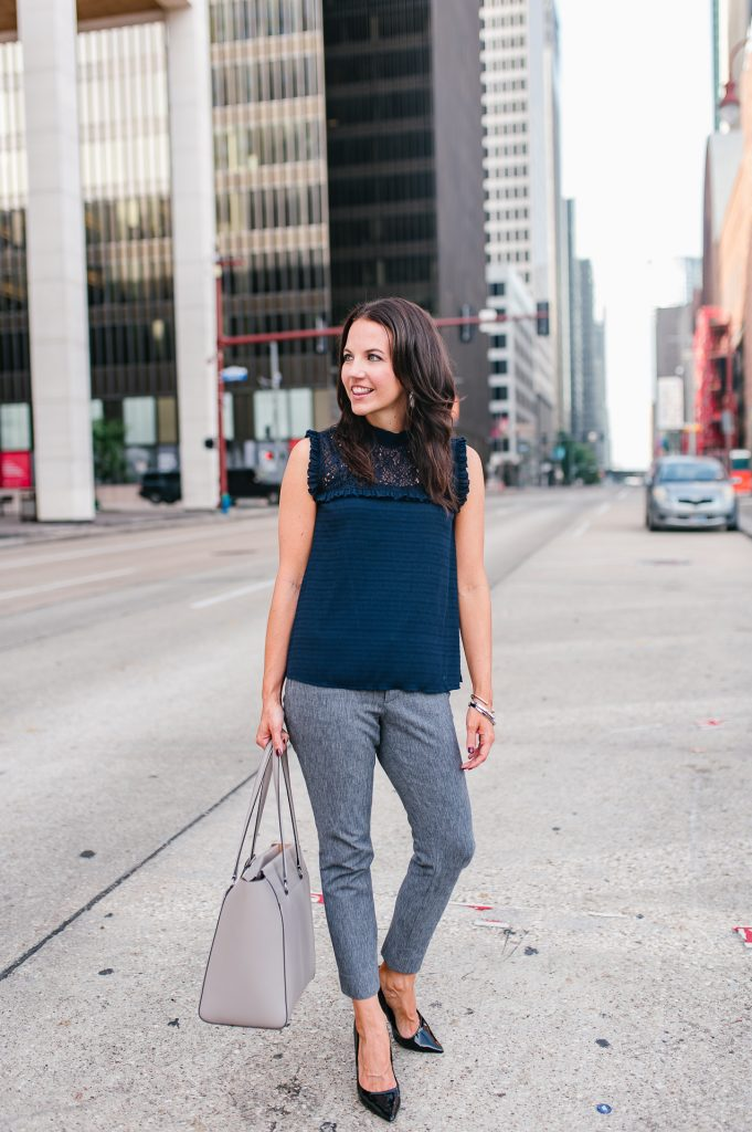 work outfit | navy sleeveless top | gray work pants | Houston Fashion Blogger Lady in Violet