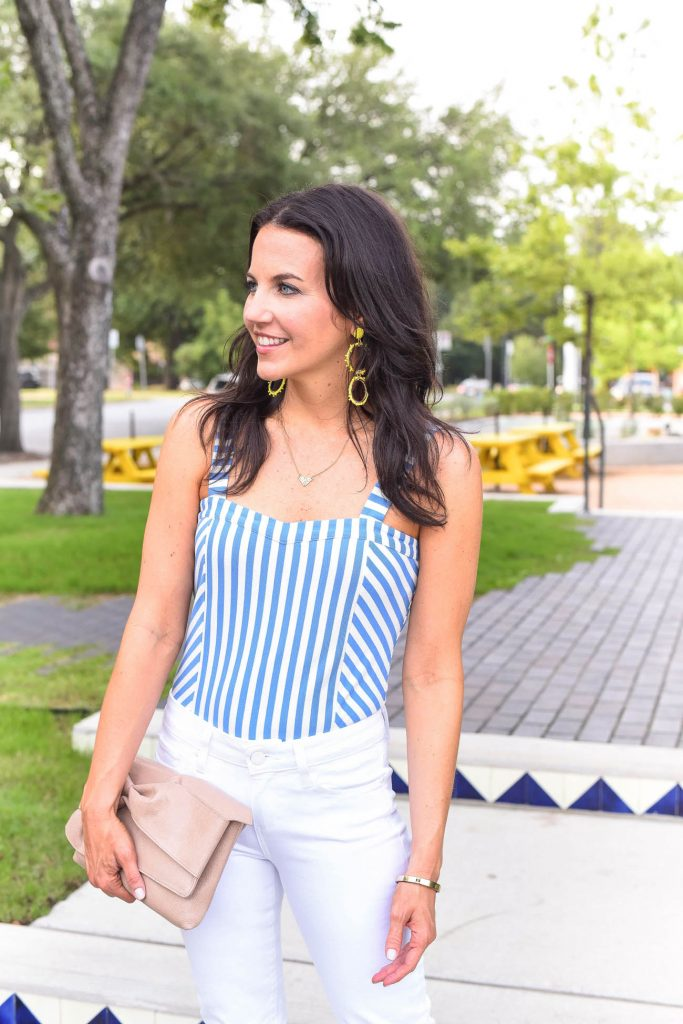 Summer outfit | striped bodysuit | yellow earrings | Houston Fashion Blogger Lady in Violet