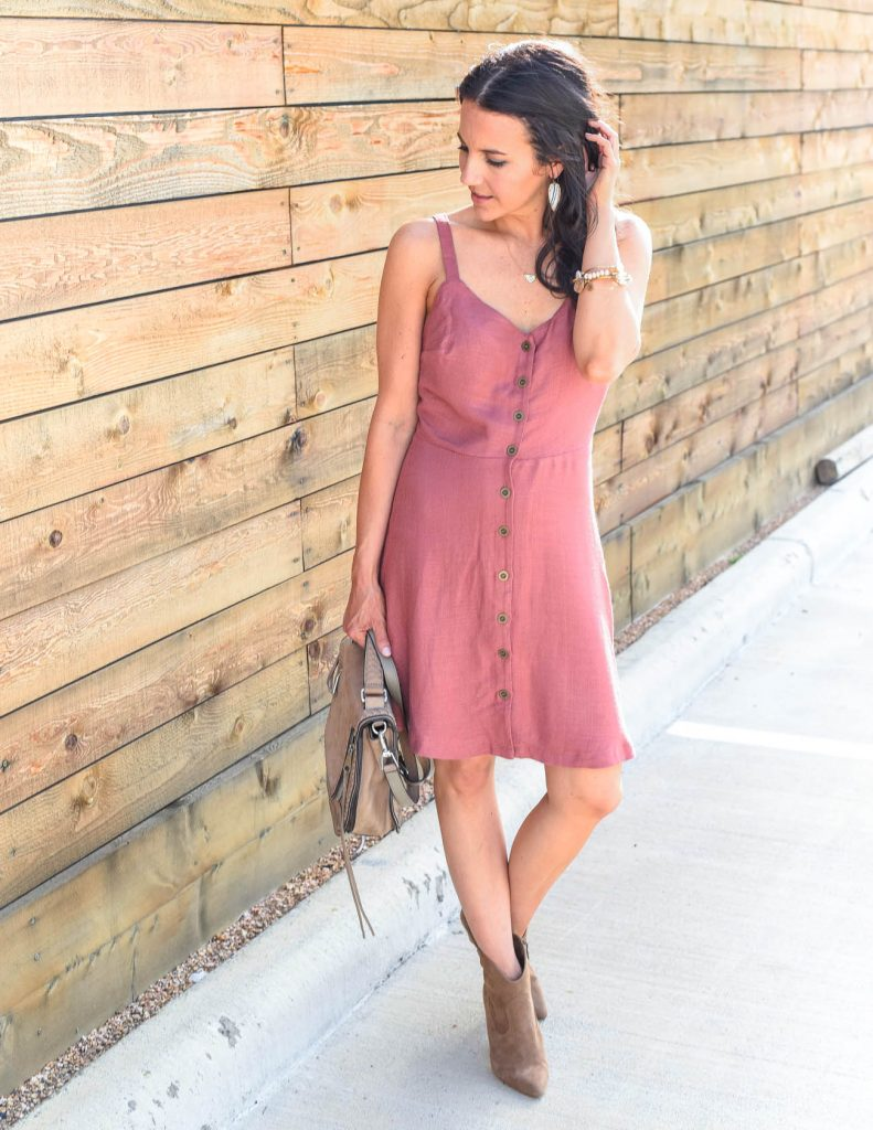 summer outfit | pink button front dress | brown booties | Houston Fashion Blogger Lady in Violet