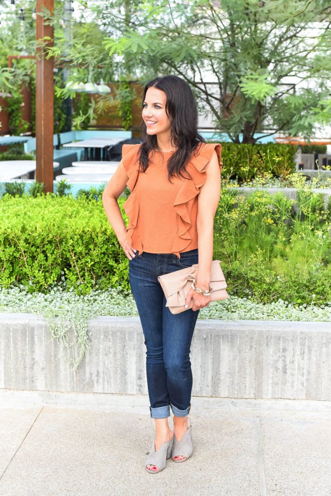 weekend outfit | orange ruffle top | blue skinny jeans | Houston Fashion Blogger Lady in Violet