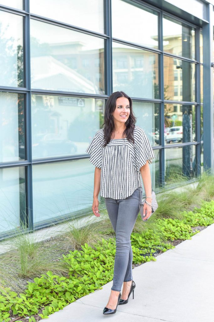 fall outfit | gray skinny jeans | striped blouse | Houston Fashion Blogger Lady in Violet