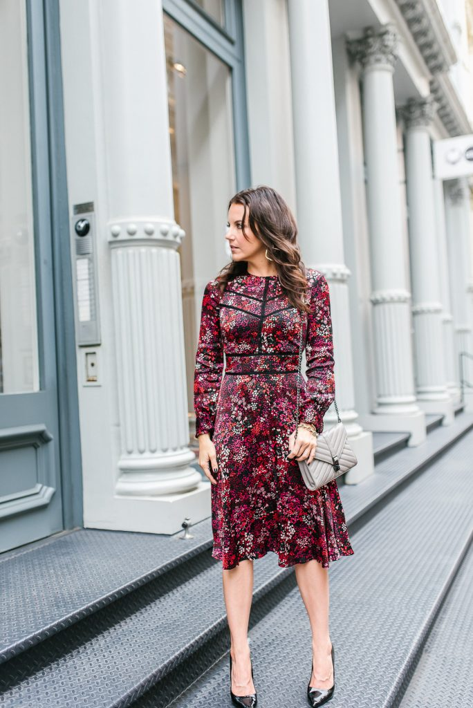 Fall outfit | red floral midi dress | black patent heels | Houston Fashion Blogger Lady in Violet
