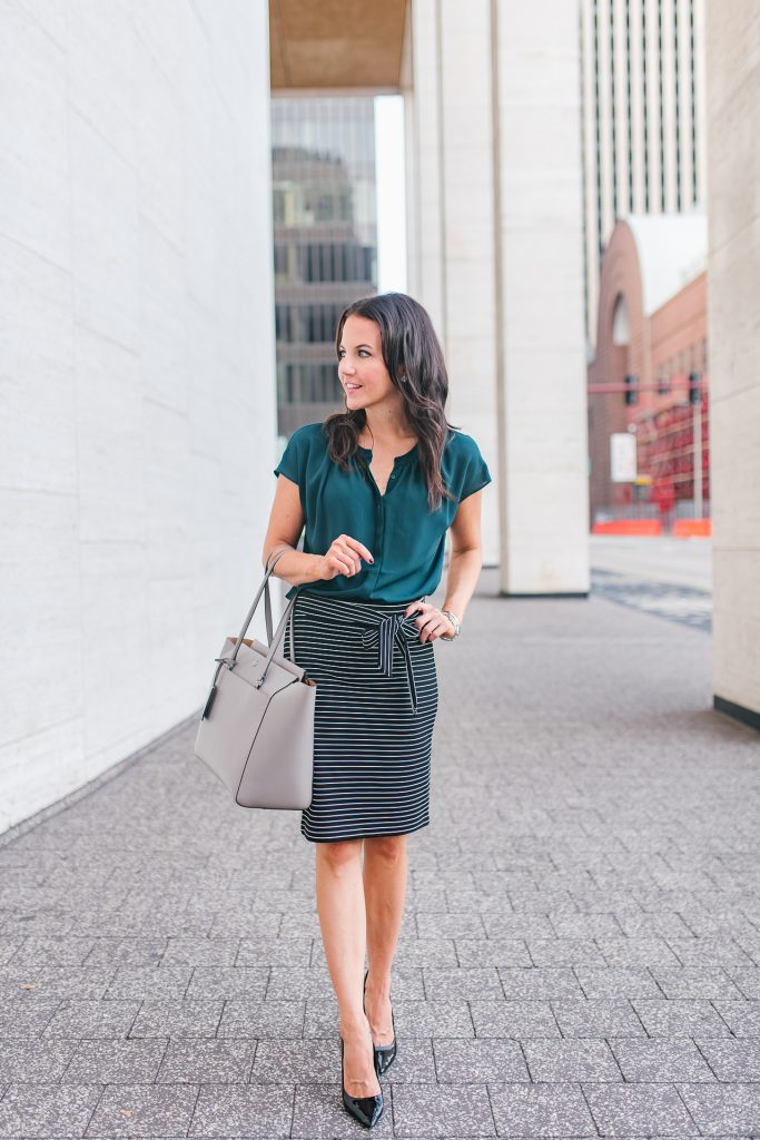 fall work outfit | striped pencil skirt | teal blouse | Houston Fashion Blogger Lady in Violet