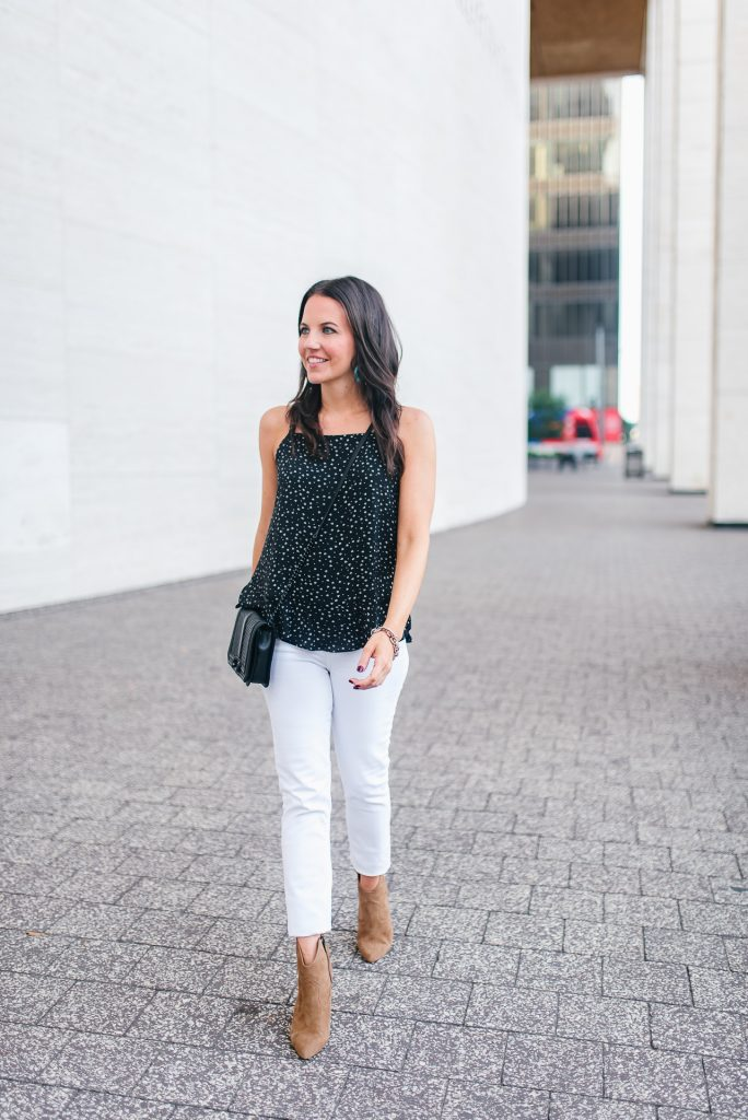 Summer outfit | black cami | white jeans | Houston Fashion Blogger Lady in Violet