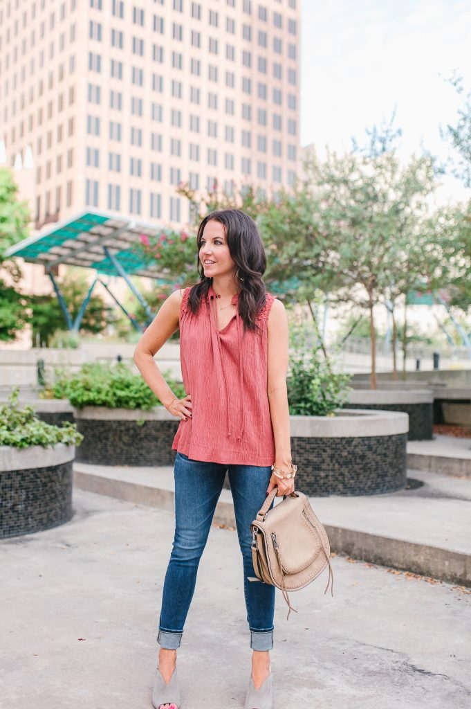 Summer outfit | sleeveless top | cuffed jeans | Houston Fashion Blogger Lady in Violet
