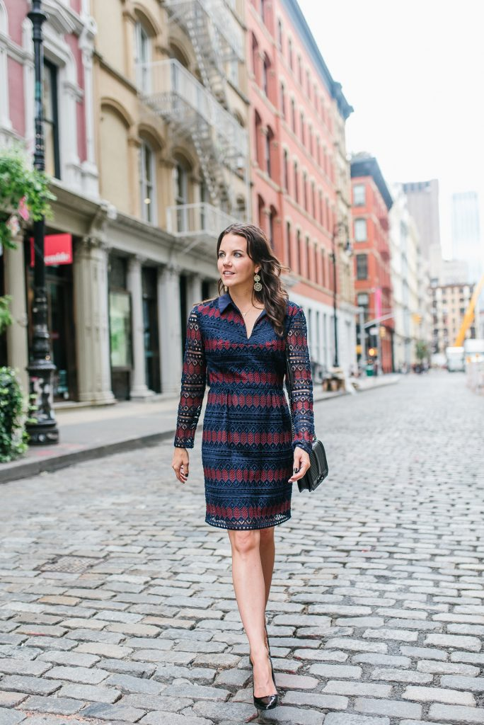 What to wear to nyfw | trina turk lace dress | black heels | Houston Fashion Blogger Lady in Violet